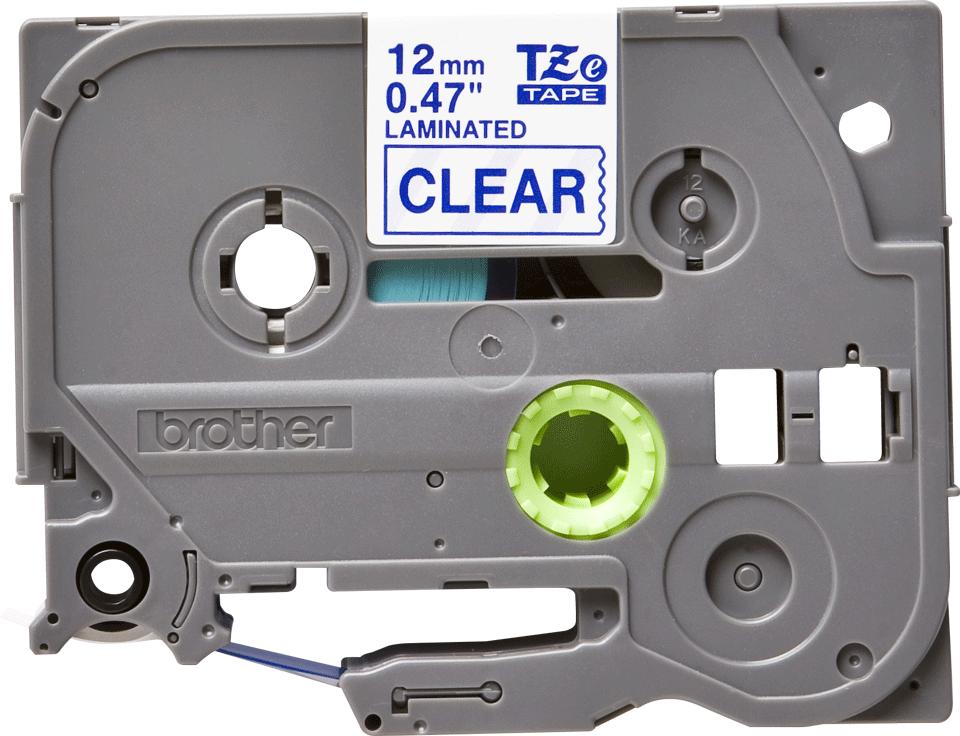 Cassette à ruban pour étiqueteuse TZe-133 Brother originale – Bleu sur transparent, 12mm de large