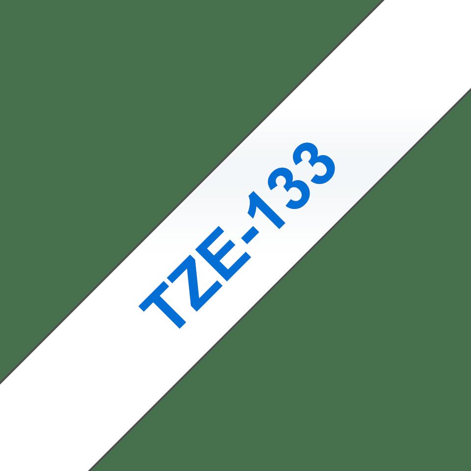 Original TZe-133 Schriftbandkassette von Brother – Blau auf Transparent, 12mm breit 3