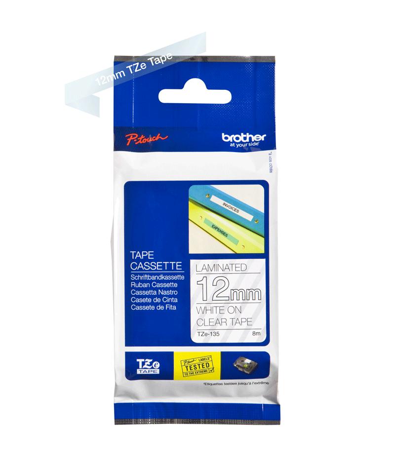 Cassette à ruban pour étiqueteuse TZe-135 Brother originale – Blanc sur transparent, 12mm de large 2