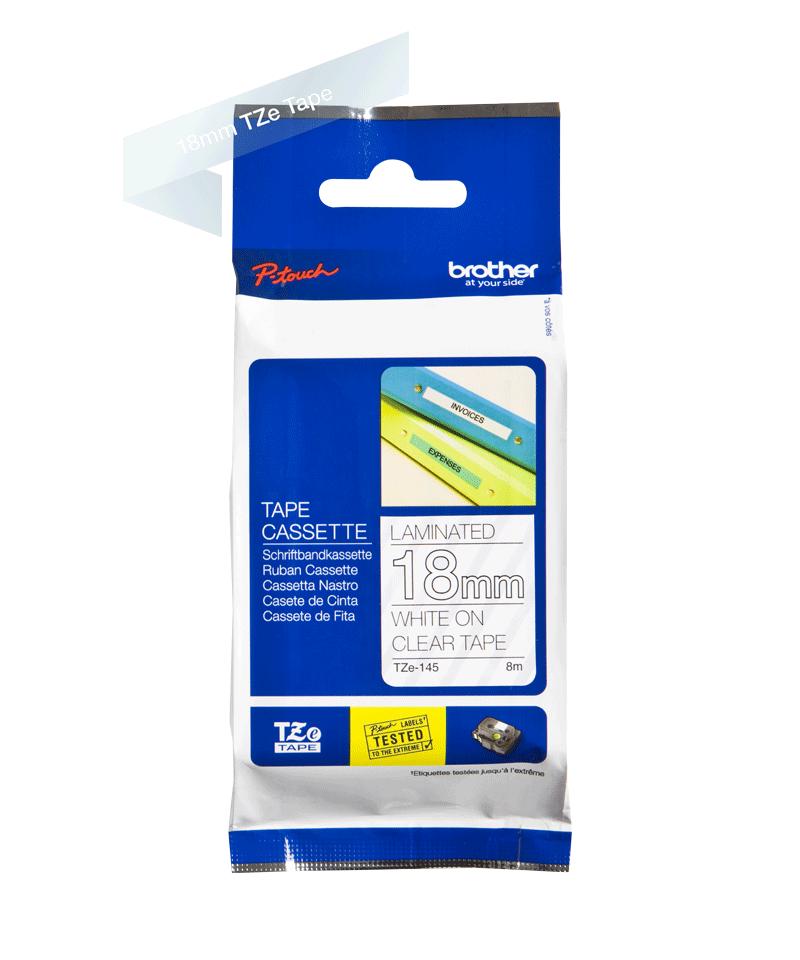 Cassette à ruban pour étiqueteuse TZe-145 Brother originale – Blanc sur transparent, 18mm de large 2