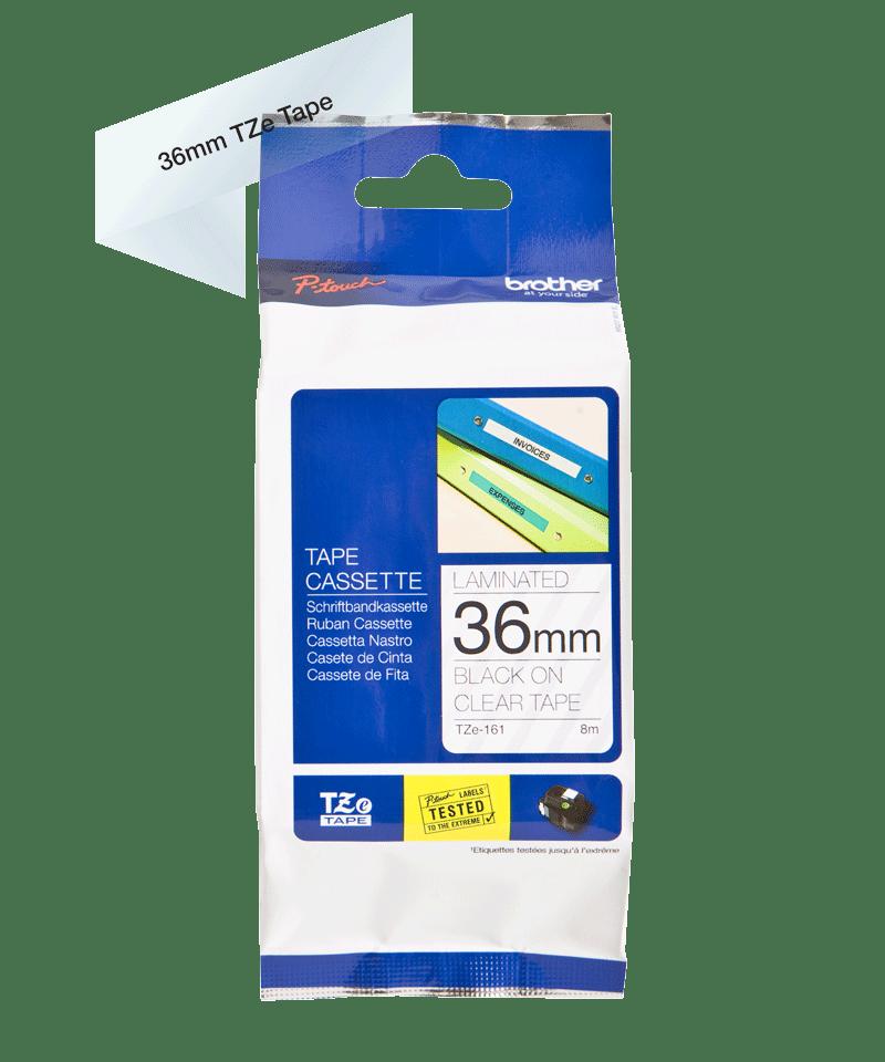 Original TZe-161 Schriftbandkassette von Brother – Schwarz auf Transparent, 36mm breit 2