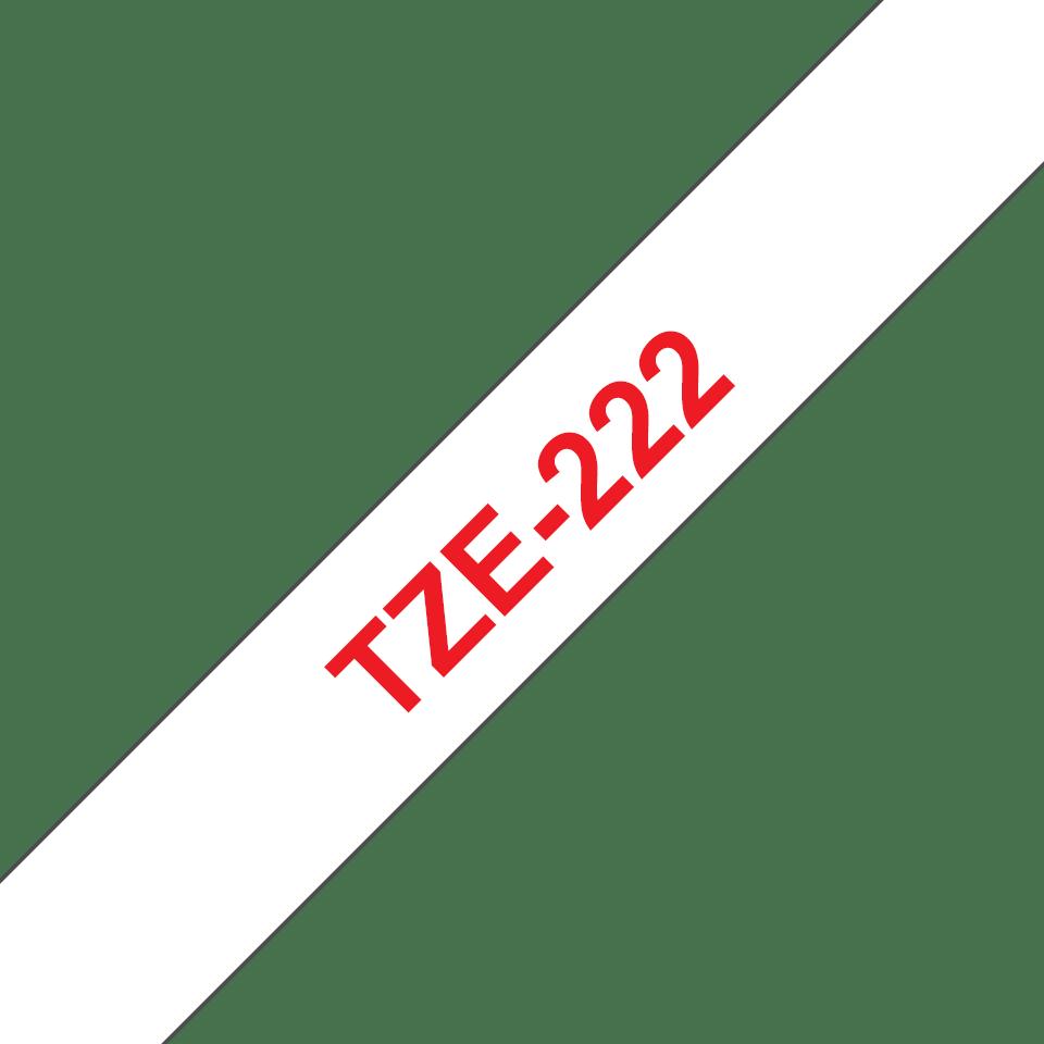 Original TZe-222 Schriftbandkassette von Brother – Rot auf Weiß, 9mm breit 3
