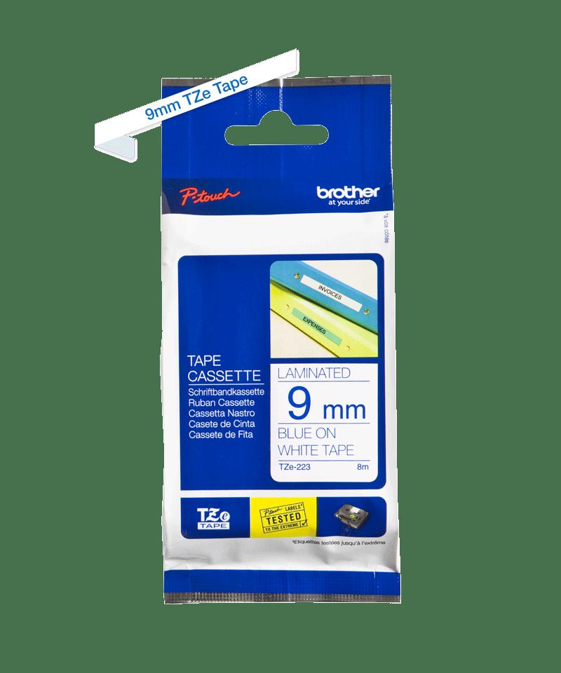Original TZe-223 Schriftbandkassette von Brother – Blau auf Weiß, 9mm breit 2