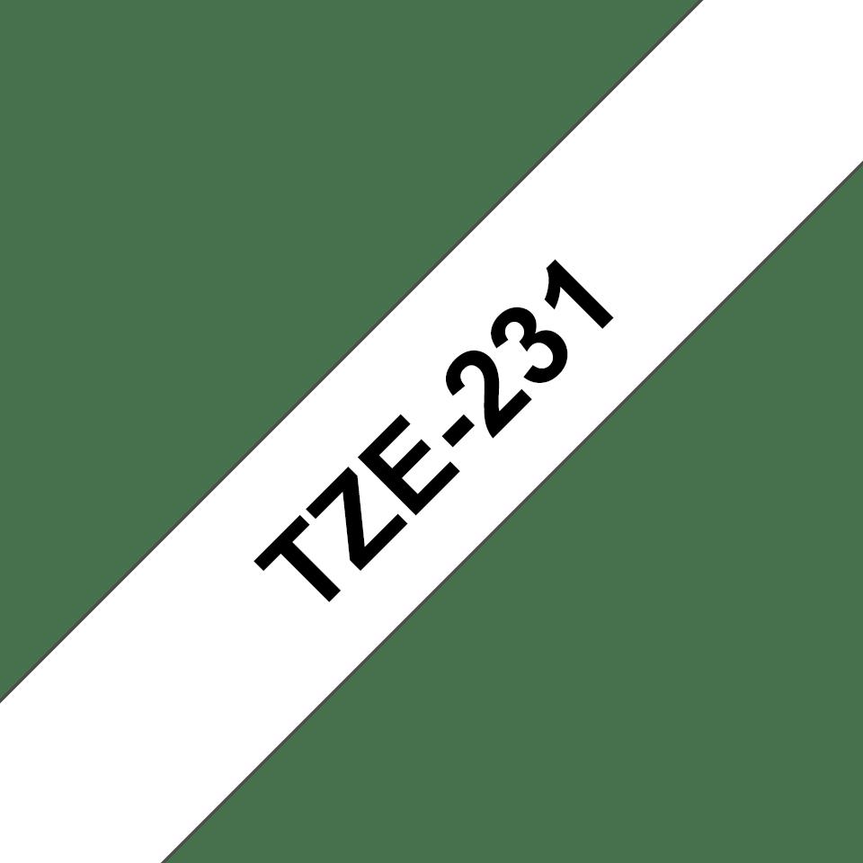 Original TZe-231 Schriftbandkassette von Brother – Schwarz auf Weiß, 12mm breit 3