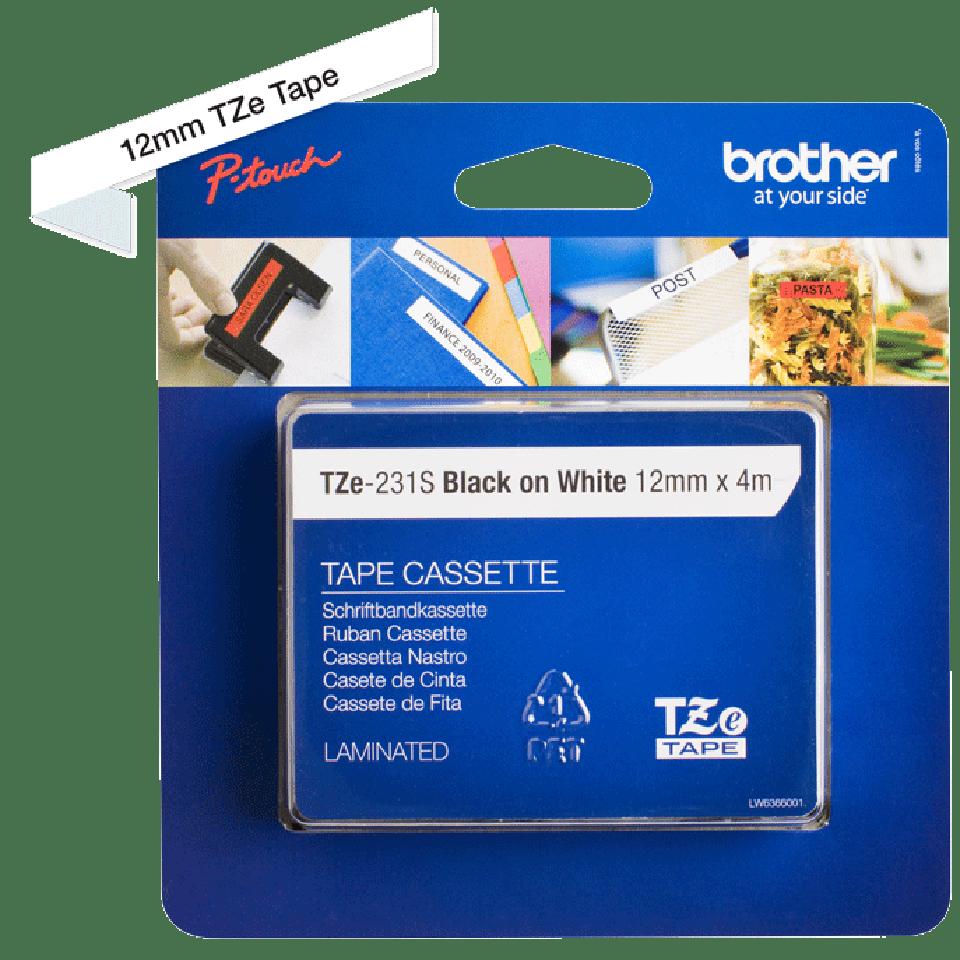 Original TZe-231S Schriftbandkassette von Brother – Schwarz auf Weiß, 12mm breit 3