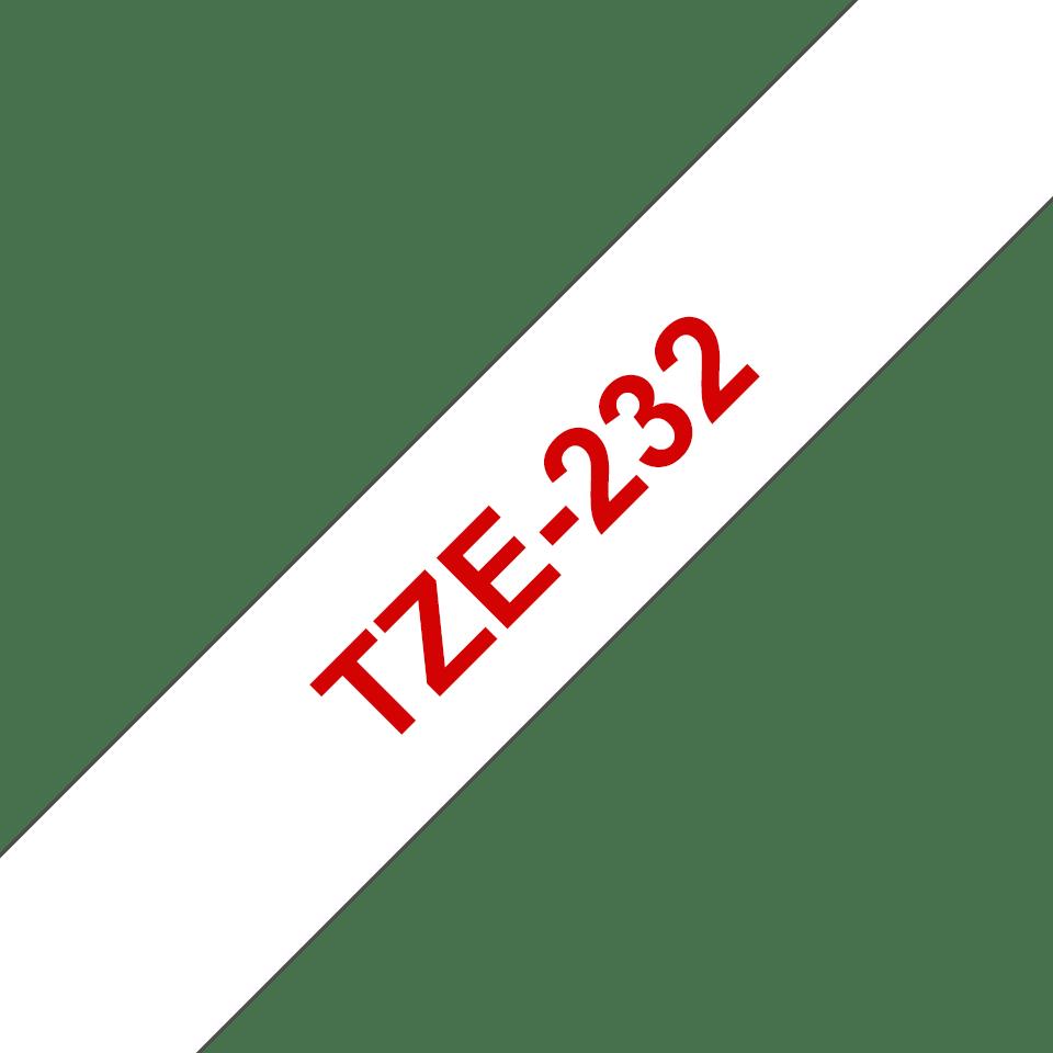 Original TZe-232 Schriftbandkassette von Brother – Rot auf Weiß, 12mm breit 3