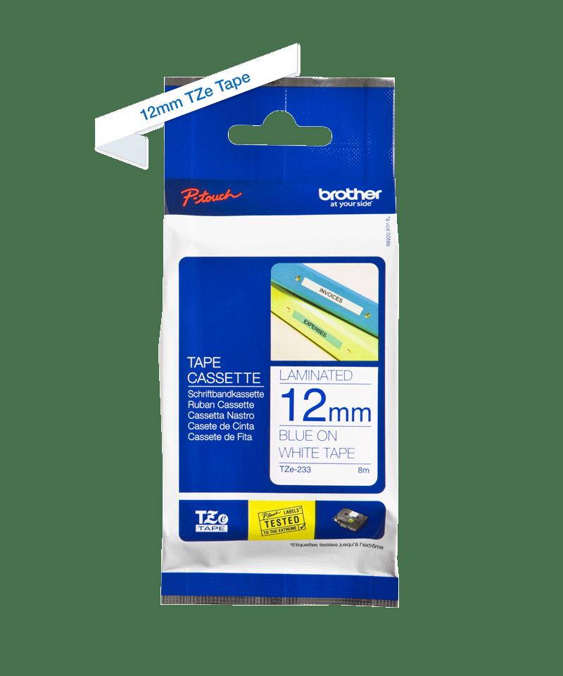 Original TZe-233 Schriftbandkassette von Brother – Blau auf Weiß, 12mm breit 2