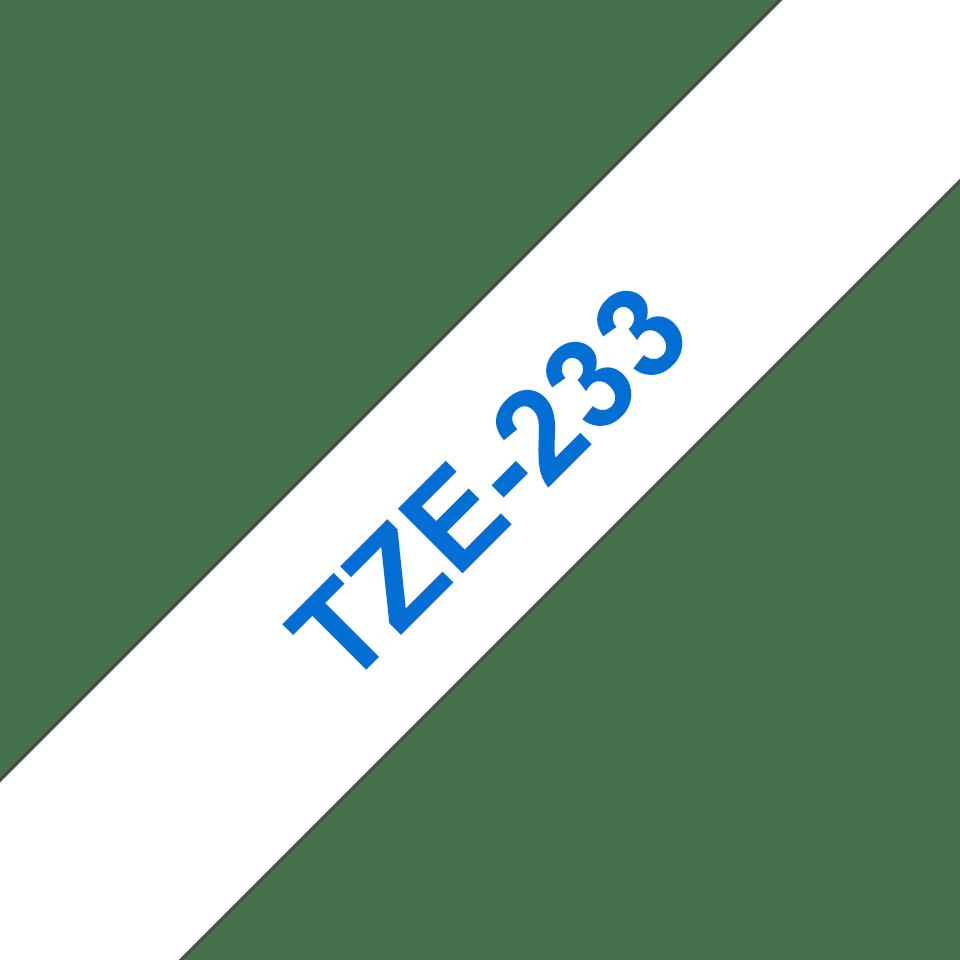 Cassette à ruban pour étiqueteuse TZe-233 Brother originale – Bleu sur blanc, 12mm de large 3