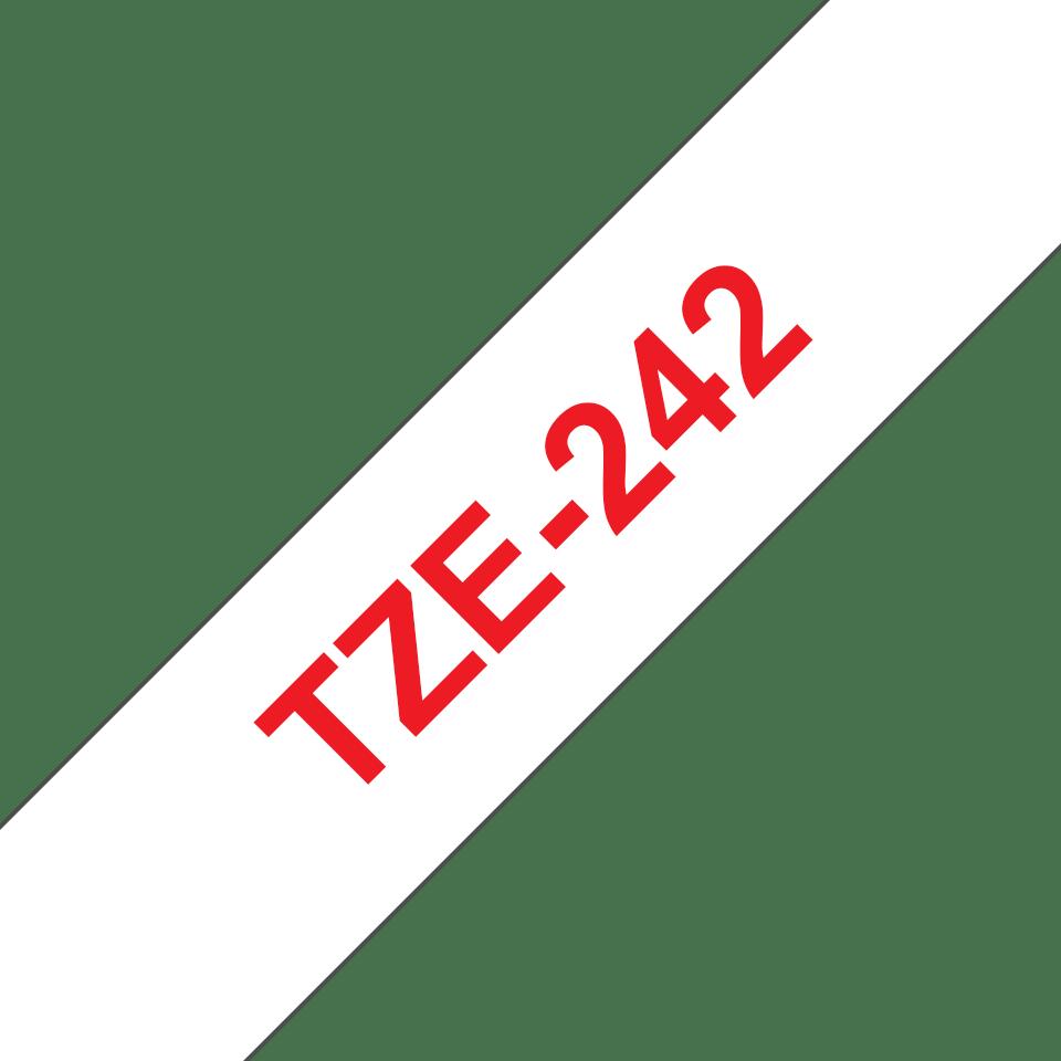 Original TZe-242 Schriftbandkassette von Brother – Rot auf Weiß, 18mm breit 3