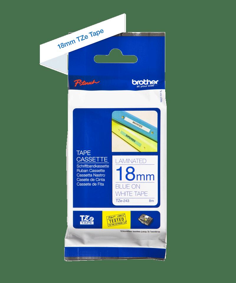 Original TZe-243 Schriftbandkassette von Brother – Blau auf Weiß, 18mm breit 2