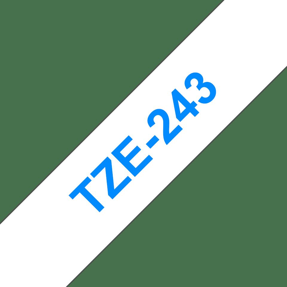 Original TZe-243 Schriftbandkassette von Brother – Blau auf Weiß, 18mm breit 3
