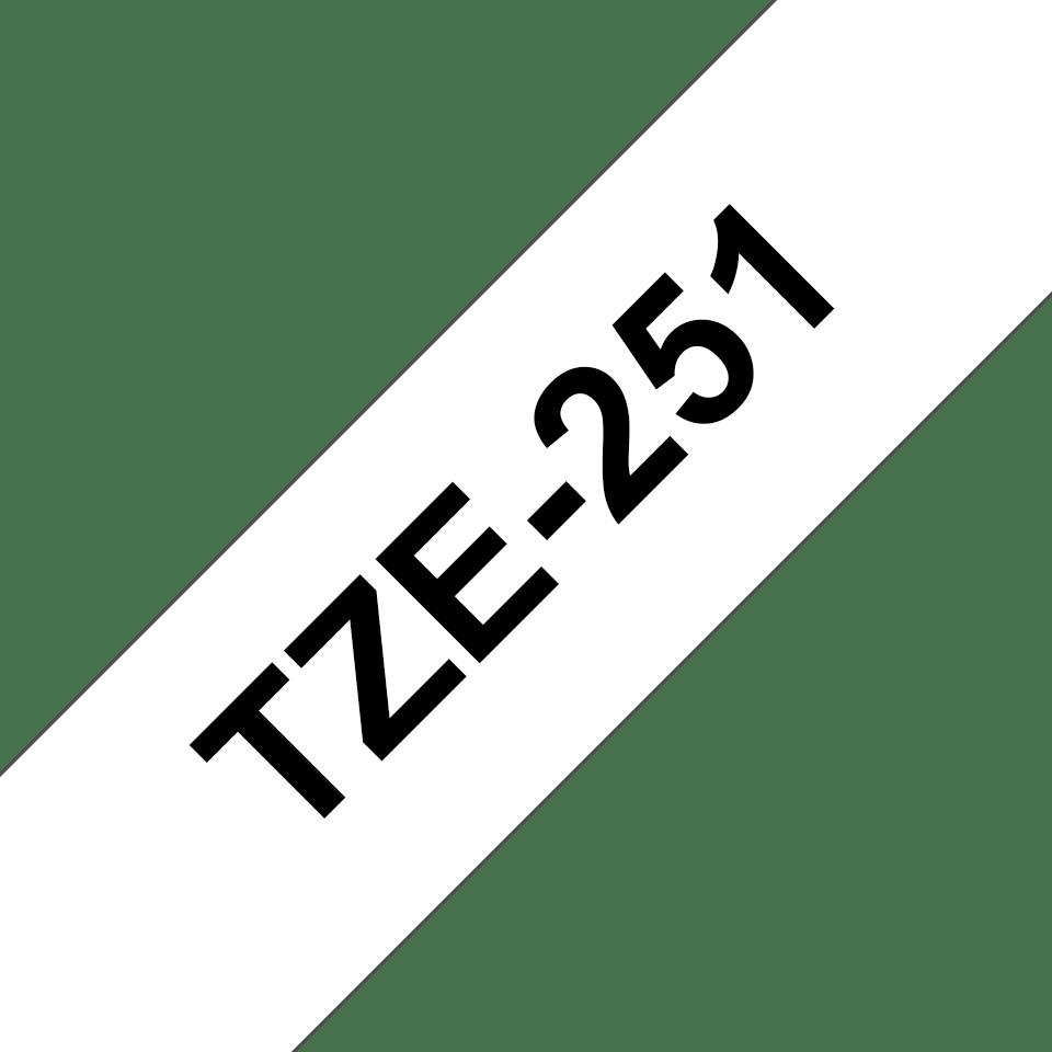 Original TZe-251 Schriftbandkassette von Brother – Schwarz auf Weiß, 24mm breit 3