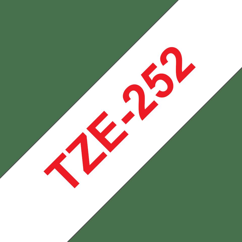 Brother TZe-252 Schriftband – rot auf weiß 3