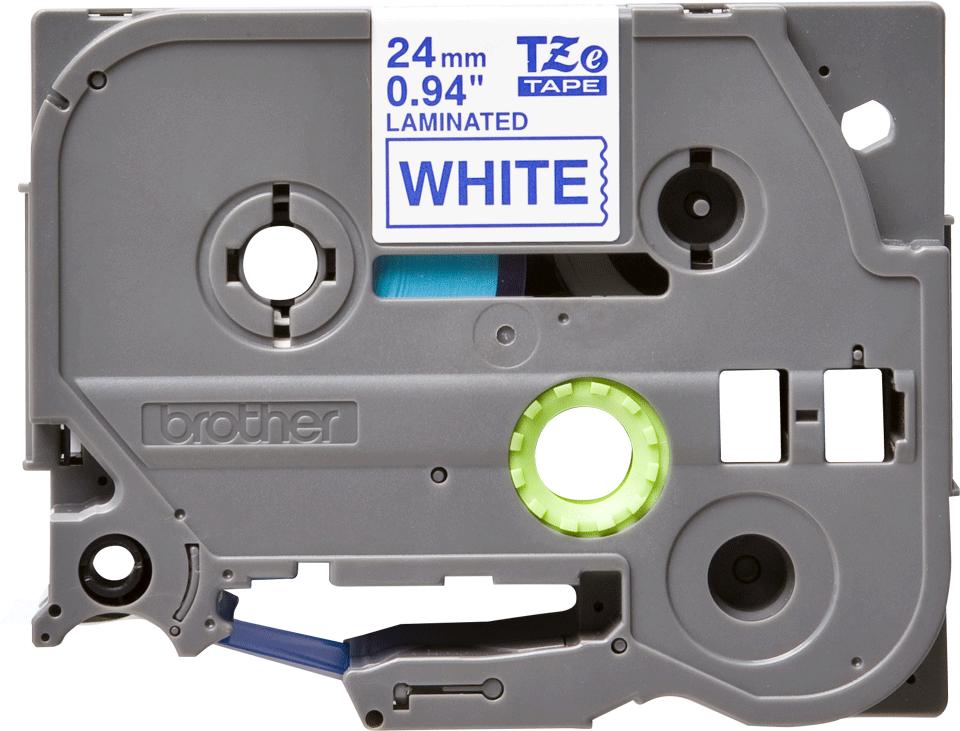 Original TZe-253 Schriftbandkassette von Brother – Blau auf Weiß, 24mm breit