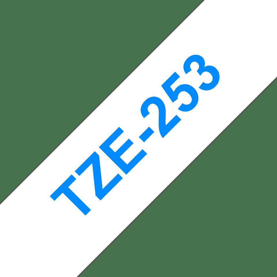 Cassette à ruban pour étiqueteuse TZe-253 Brother originale – Bleu sur blanc, 24mm de large