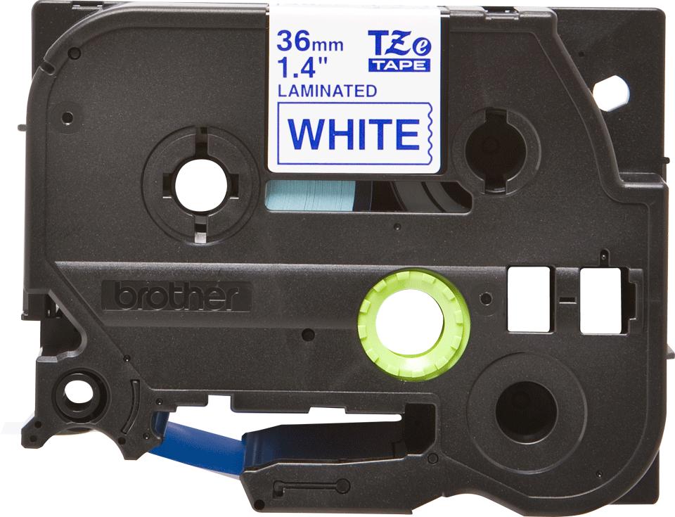 Cassette à ruban pour étiqueteuse TZe-263 Brother originale – Bleu sur blanc, 36mm de large