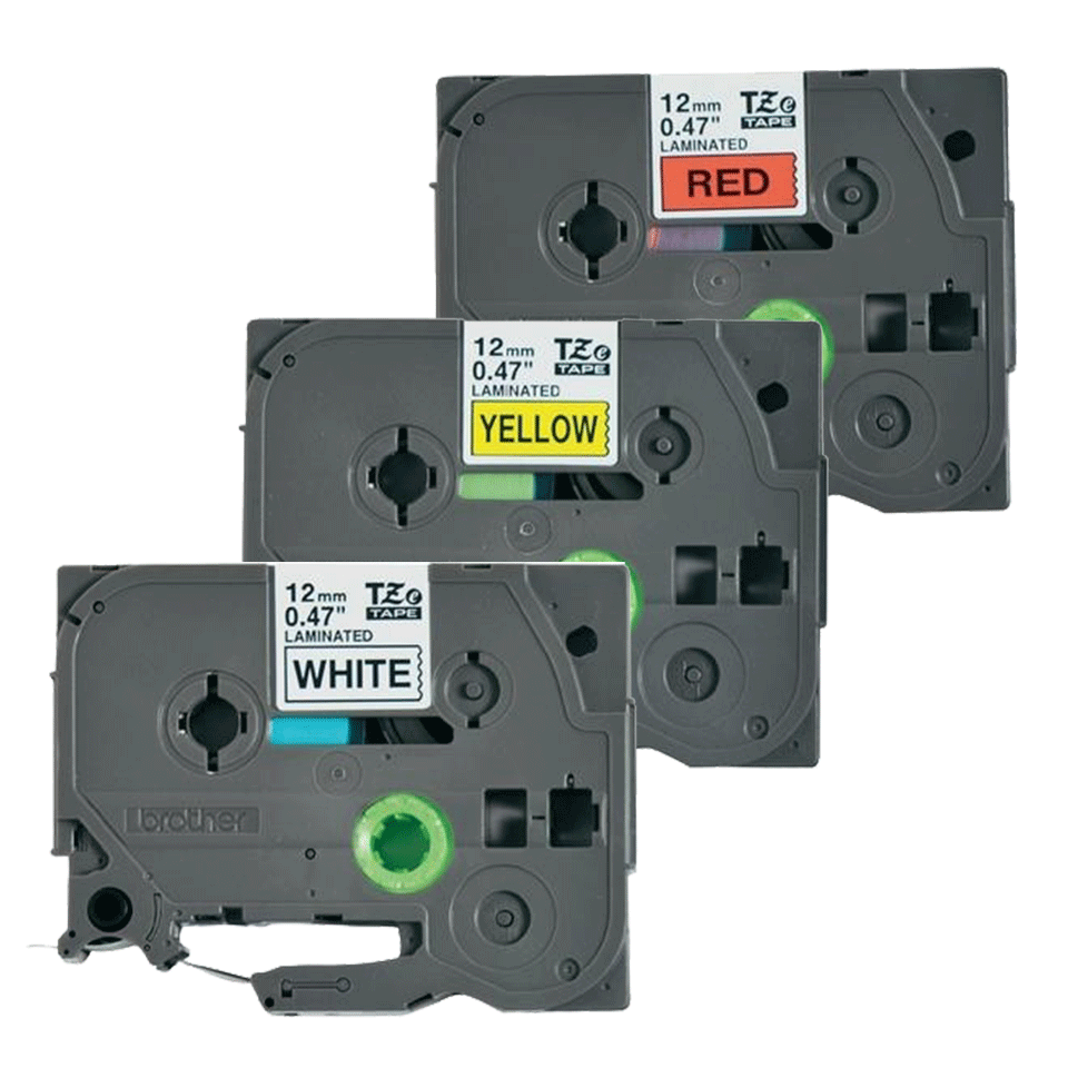 Cassettes à ruban pour étiqueteuse TZe-31M3 Brother originales – Noir sur rouge, noir sur blanc et noir sur jaune, 12mm de large 2