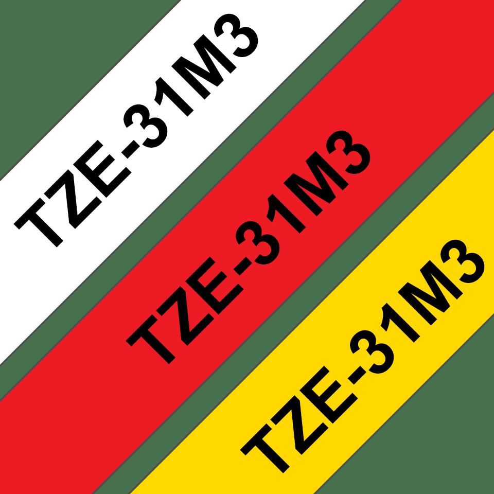 Cassettes à ruban pour étiqueteuse TZe-31M3 Brother originales – Noir sur rouge, noir sur blanc et noir sur jaune, 12mm de large 3