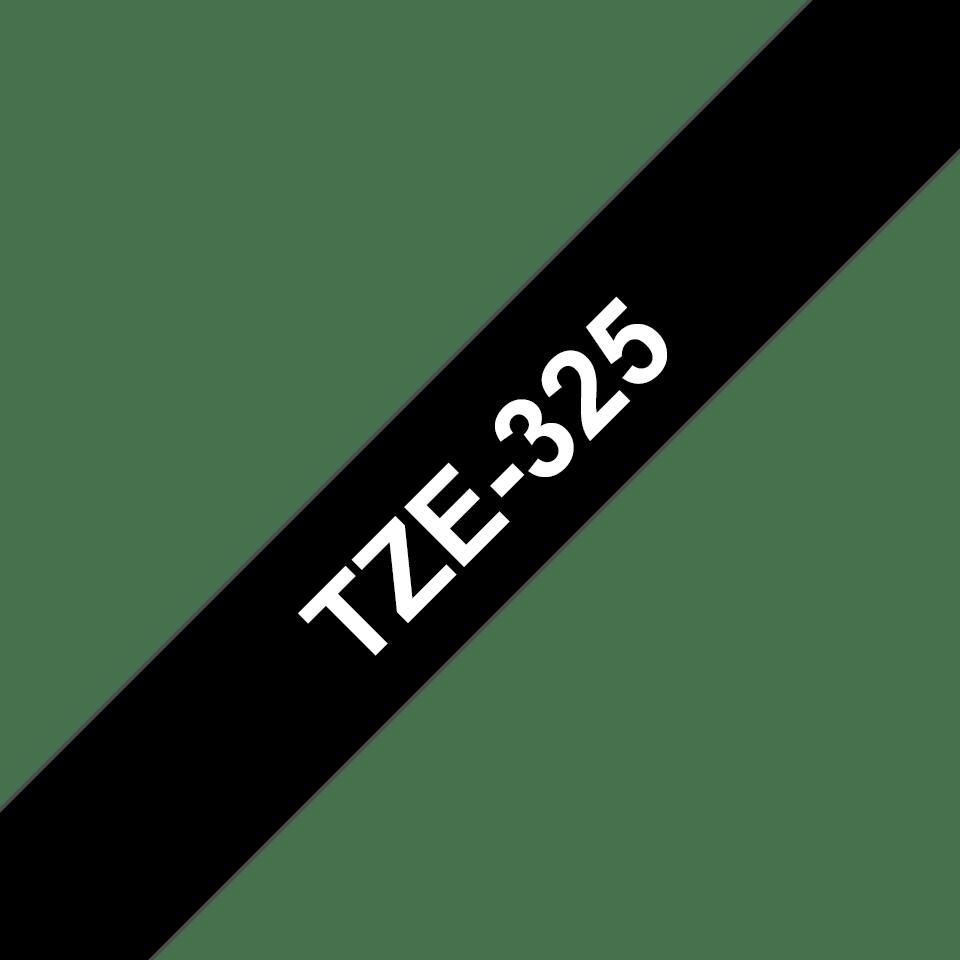 Original TZe-325 Schriftbandkassette von Brother – Weiß auf Schwarz, 9mm breit 3