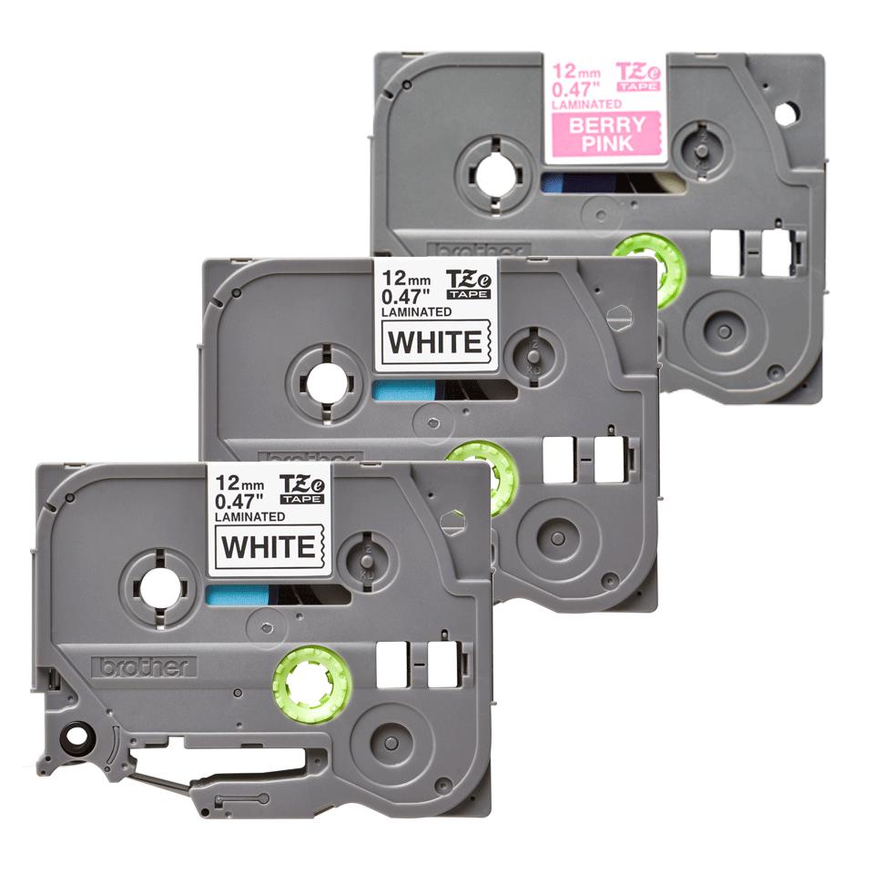 Original TZe-32M3 Schriftbandkassetten von Brother – Schwarz auf Weiß, Weiß auf fluoreszierendem Mattpink, 12mm breit 2