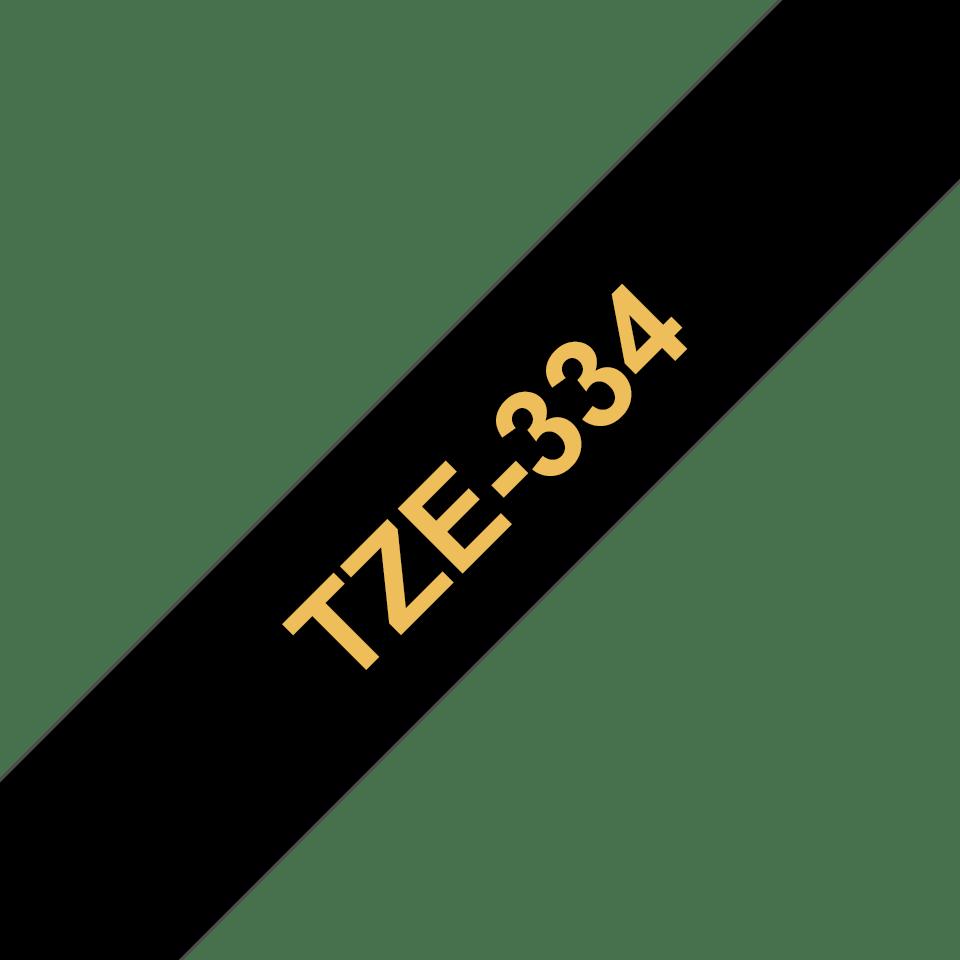 Original TZe-334 Schriftbandkassette von Brother – Gold auf Schwarz, 12mm breit 3