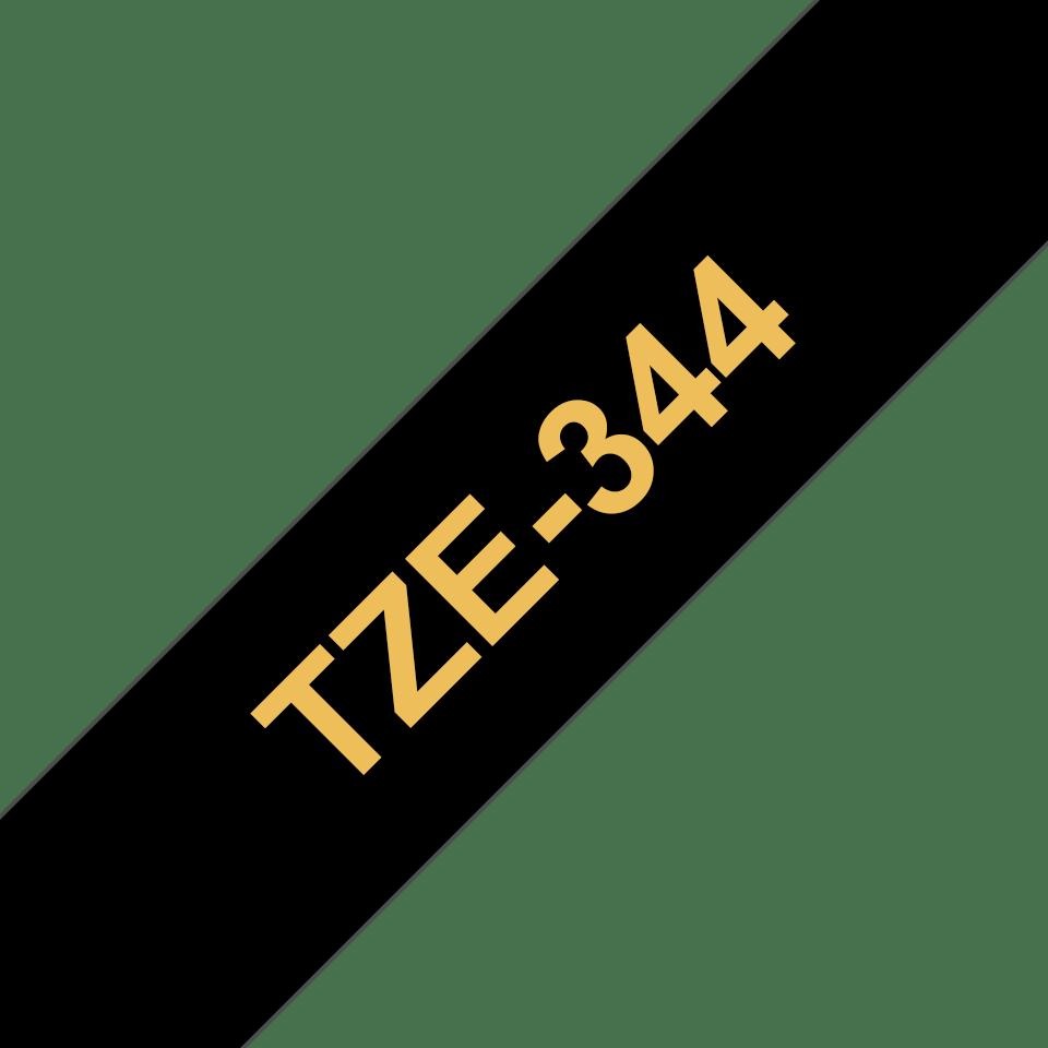 Original TZe-344 Schriftbandkassette von Brother – Gold auf Schwarz, 18mm breit 3