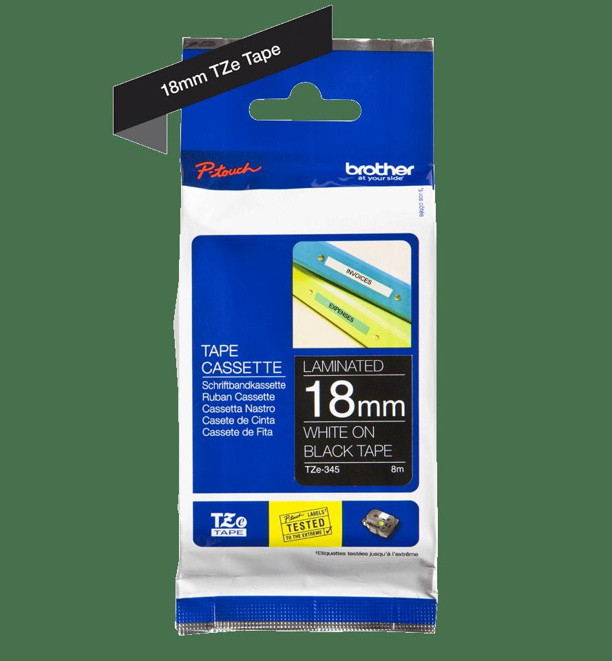 Cassette à ruban pour étiqueteuse TZe-345 Brother originale – Blanc sur noir, 18mm de large 3