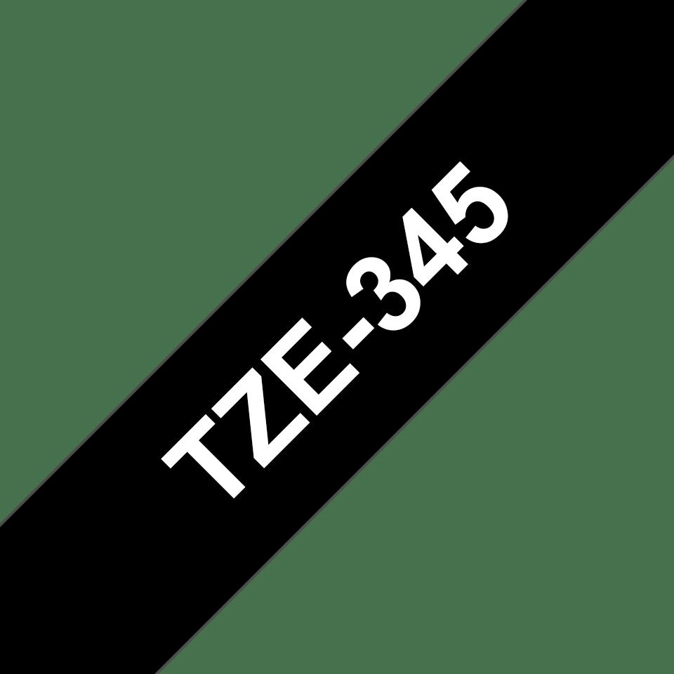Original TZe-345 Schriftbandkassette von Brother – Weiß auf Schwarz, 18mm breit 3