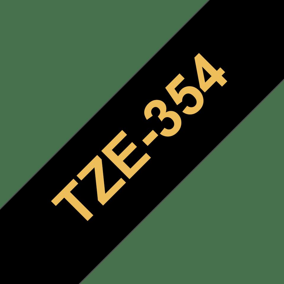 Original TZe-354 Schriftbandkassette von Brother – Gold auf Schwarz, 24mm breit 3