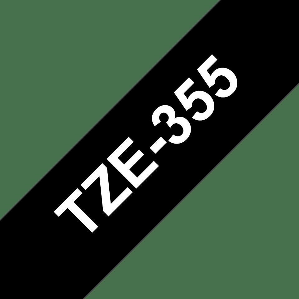 Original TZe-355 Schriftbandkassette von Brother – Weiß auf Schwarz, 24mm breit 3