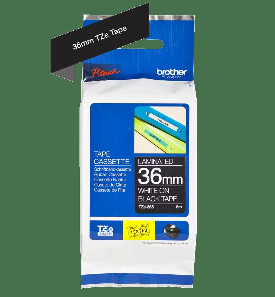 Original TZe-365 Schriftbandkassette von Brother – Weiß auf Schwarz, 36mm breit 2
