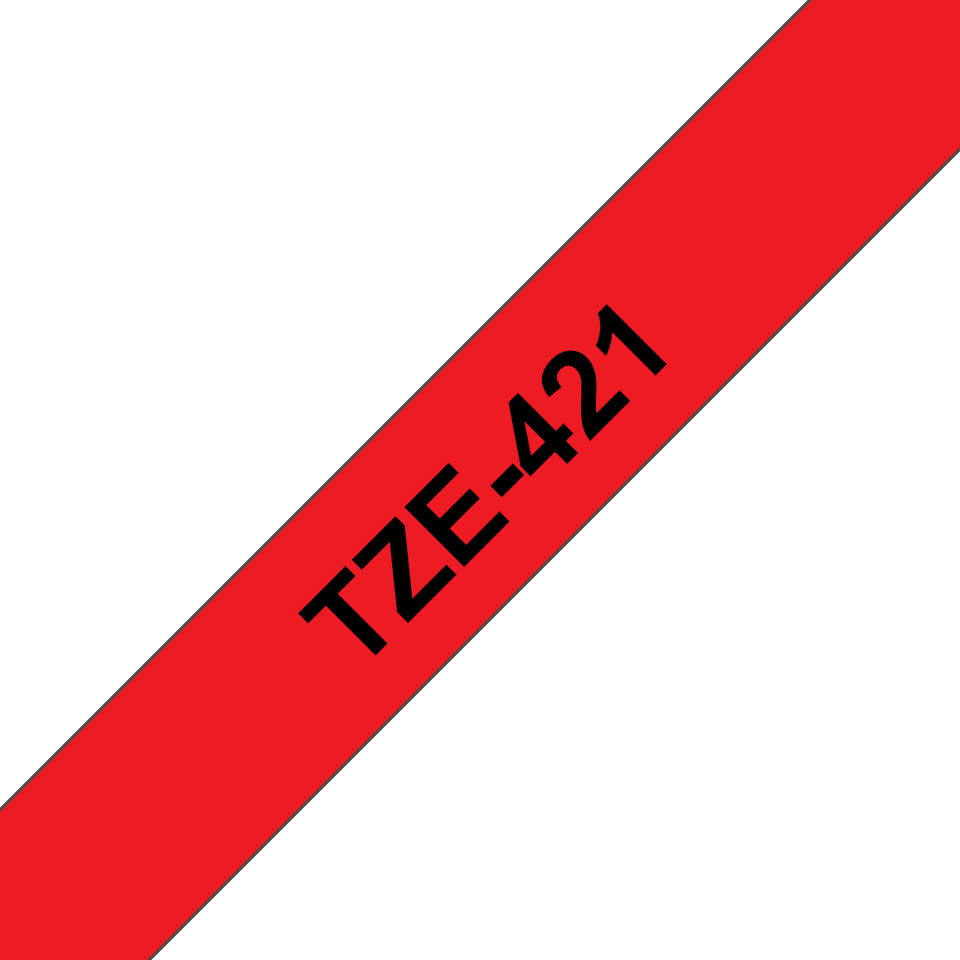 Original TZe-421 Schriftbandkassette von Brother – Schwarz auf Rot, 9mm breit 3