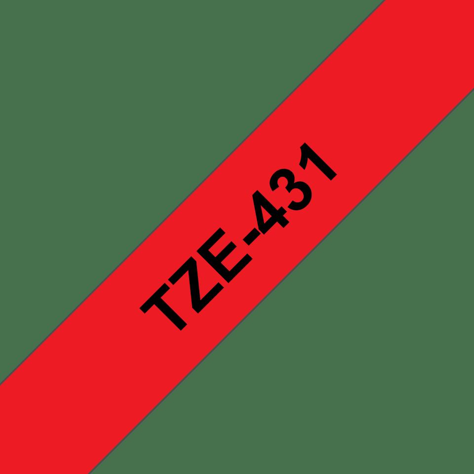 Original TZe-431 Schriftbandkassette von Brother – Schwarz auf Rot, 12mm breit 3