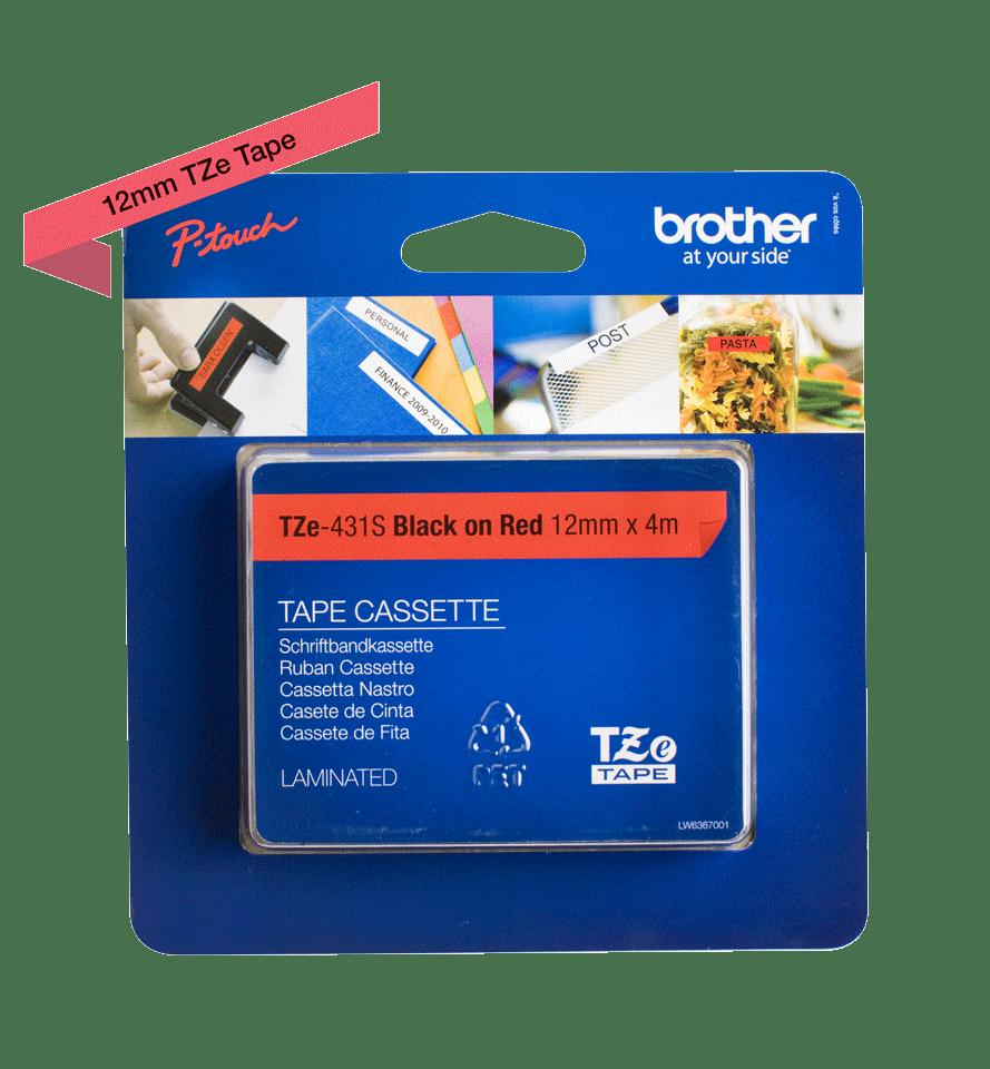 Original TZe-431S Schriftbandkassette von Brother – Schwarz auf Rot, 12mm breit 2