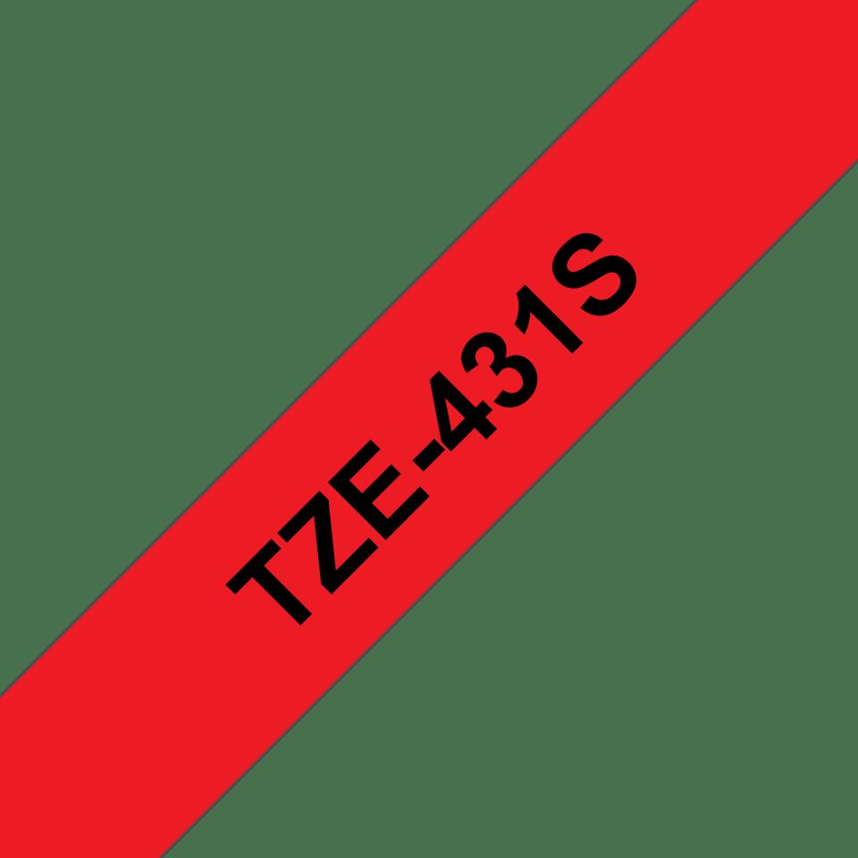 Original TZe-431S Schriftbandkassette von Brother – Schwarz auf Rot, 12mm breit 3