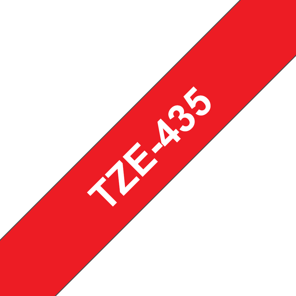 Cassette à ruban pour étiqueteuse TZe-435 Brother originale – Blanc sur rouge, 12mm de large