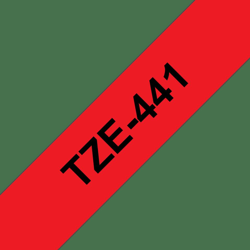 Original TZe-441 Schriftbandkassette von Brother – Schwarz auf Rot, 18mm breit 3