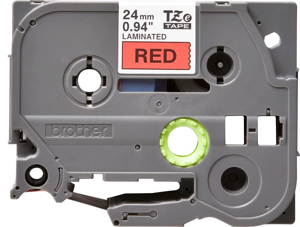Original TZe-451 Schriftbandkassette von Brother – Schwarz auf Rot, 24mm breit
