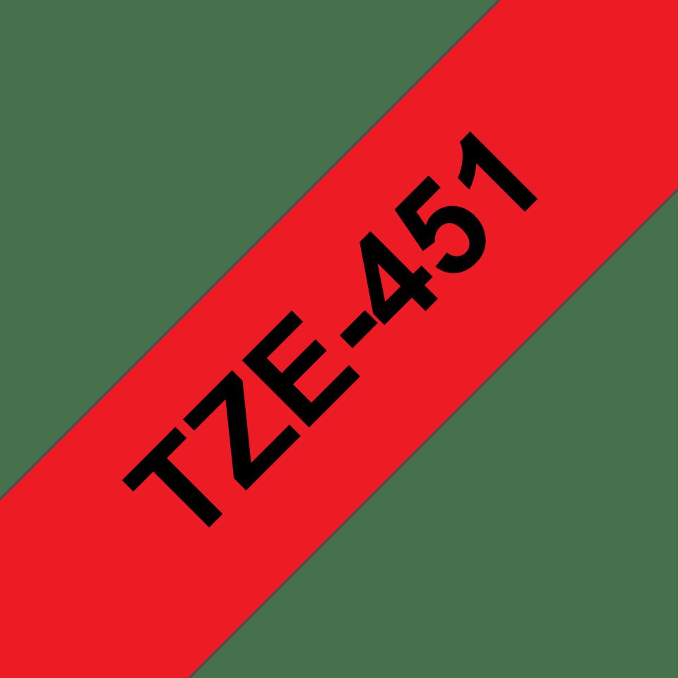 Original TZe-451 Schriftbandkassette von Brother – Schwarz auf Rot, 24mm breit 3