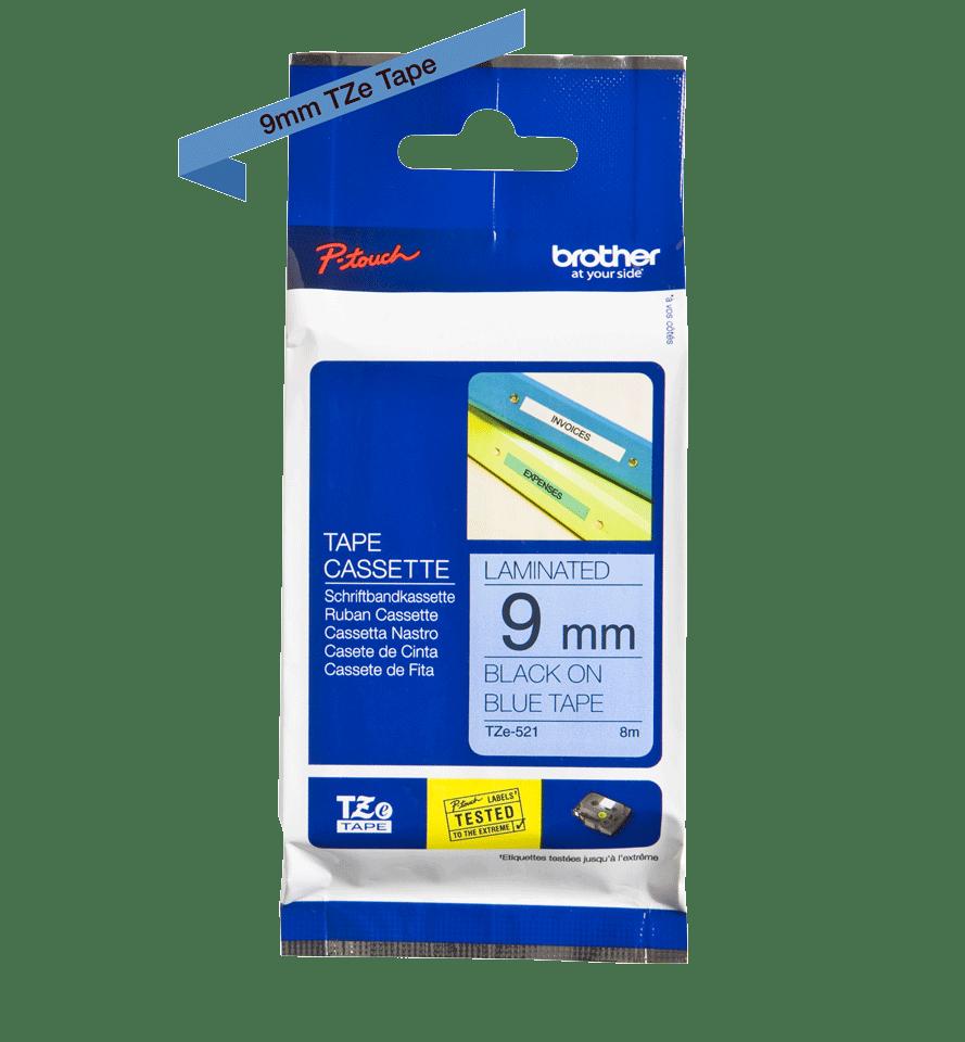 Original TZe-521 Schriftbandkassette von Brother – Schwarz auf Blau, 9mm breit 2