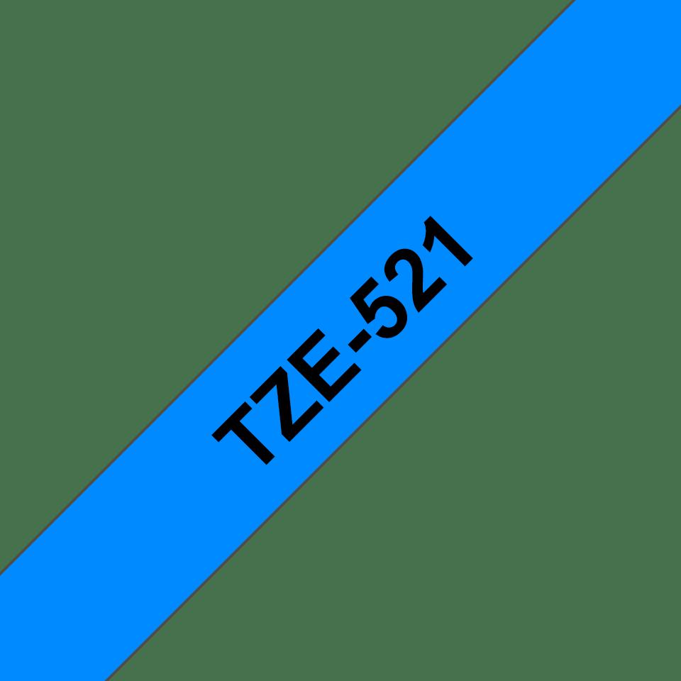 Original TZe-521 Schriftbandkassette von Brother – Schwarz auf Blau, 9mm breit 3