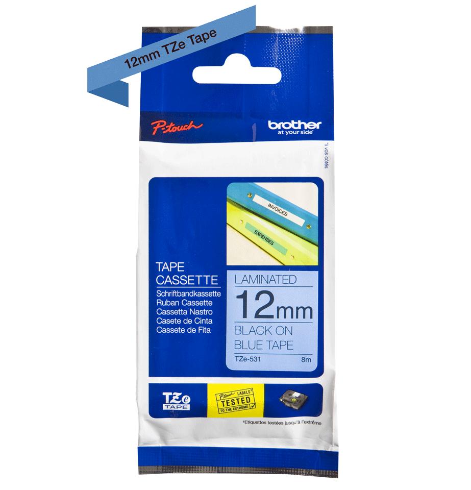 Original TZe-531 Schriftbandkassette von Brother – Schwarz auf Blau, 12mm breit 2