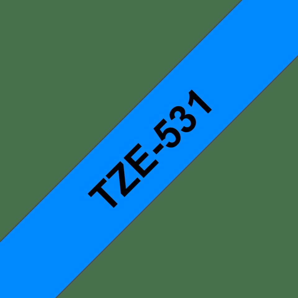 Original TZe-531 Schriftbandkassette von Brother – Schwarz auf Blau, 12mm breit 3