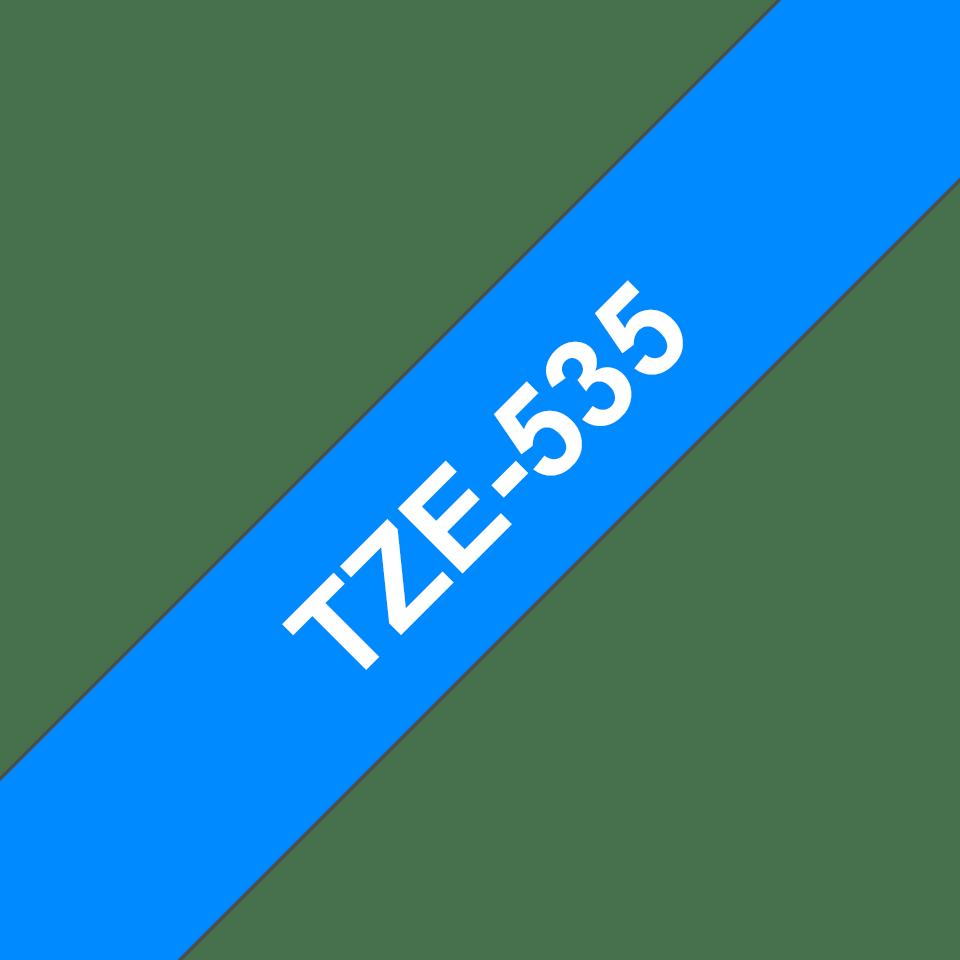 Cassette à ruban pour étiqueteuse TZe-535 Brother originale – Blanc sur bleu, 12mm de large