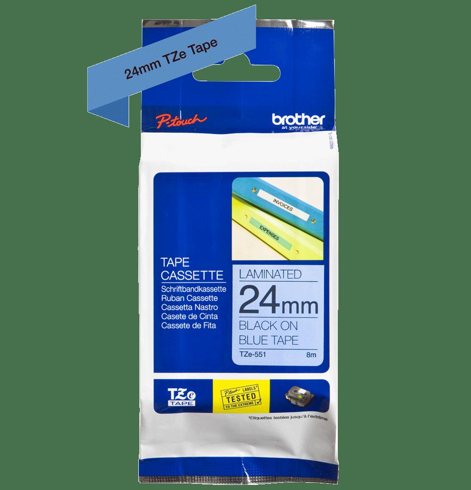 Cassette à ruban pour étiqueteuse TZe-551 Brother originale – Noir sur bleu, 24mm de large 2