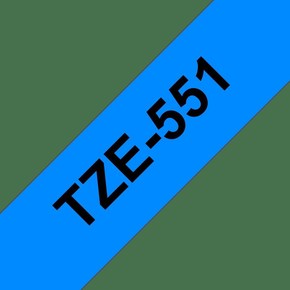 Original TZe-551 Schriftbandkassette von Brother – Schwarz auf Blau, 24mm breit 3