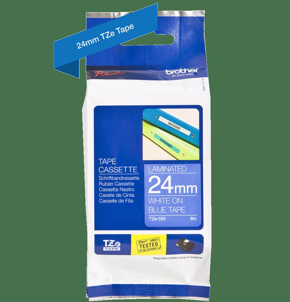Cassette à ruban pour étiqueteuse TZe-555 Brother originale – Blanc sur bleu, 24mm de large 2