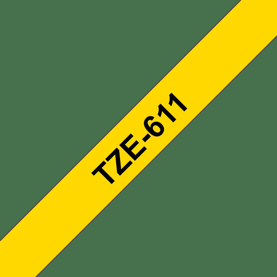 Original TZe-611 Schriftbandkassette von Brother – Schwarz auf Gelb, 6mm breit 3