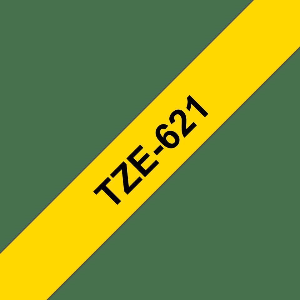 Original TZe-621 Schriftbandkassette von Brother – Schwarz auf Gelb, 9mm breit 3