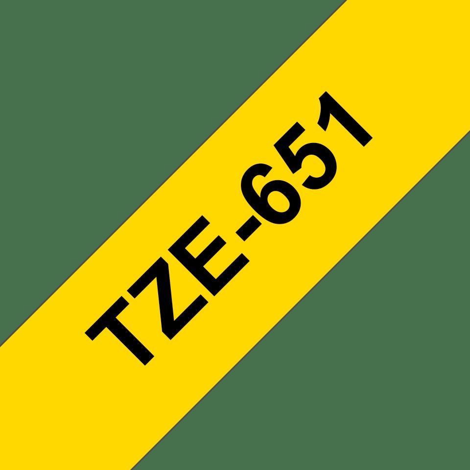 Original TZe-651 Schriftbandkassette von Brother – Schwarz auf Gelb, 24mm breit 3